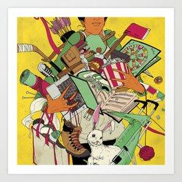 Woman Holding Objects Art Print
