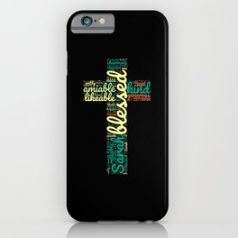 Name gift for Sarah qualities christian cross iPhone Case