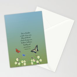Colossian 3 12 Put On a Heart of Compassion, Kindness  Swallowtail Butterfly Daisies Vetch Stationery Cards