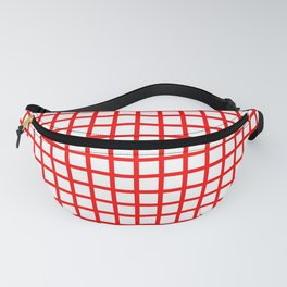 Crossed lines red on white background - RHT480 Fanny Pack