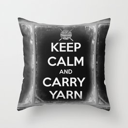 Keep Calm and Carry Yarn - Tin Panel - Knitting Throw Pillow