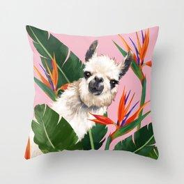 Llama in Bird of Paradise Flowers Throw Pillow