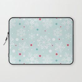 Christmas Snowflakes with Red and Blue Polka Dots Pattern Laptop Sleeve