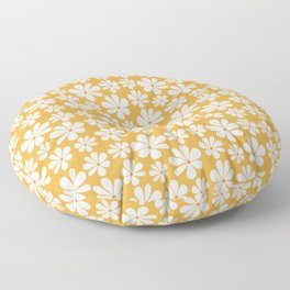 Floral Daisy Pattern - Golden Yellow Floor Pillow