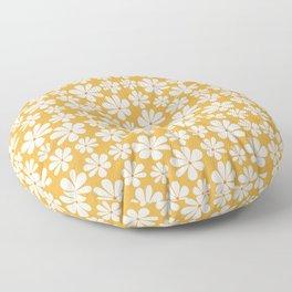 Floral Daisy Pattern - Golden Yellow Floor Pillow
