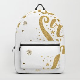 Let It Snow Gold Glitter Christmas Typography Backpack