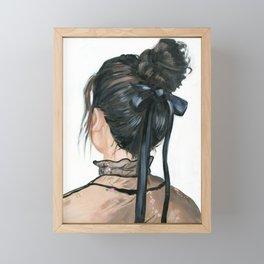 Black bow messy bun Framed Mini Art Print
