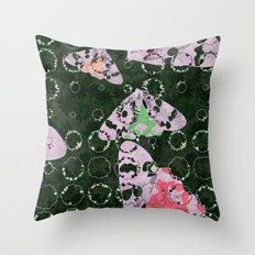 Flowers and Moths Throw Pillow