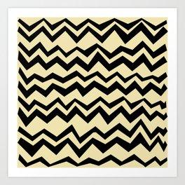 Pop Art Creamy black graphic geometric horizontal zigzag pattern Art Print
