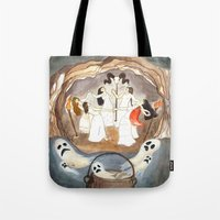 coven Tote Bags featuring Halloween night - The coven ( Noche de brujas: aquelarre ) by Silvia Santamaria