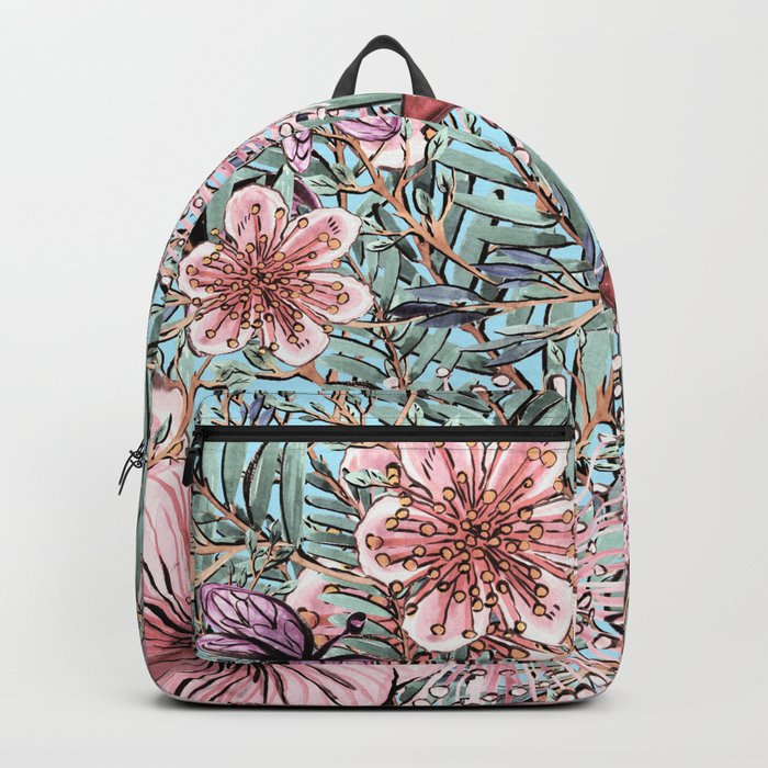 Tropical Pastel Pink Flower Hibiscus Garden on #Society6 Backpack