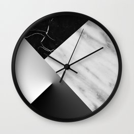 Monochromatic Marble Collage  Wall Clock