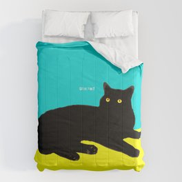 Black Cat on Yellow and Sky Blue Comforters