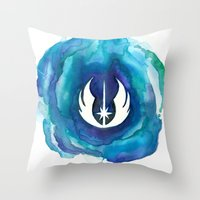 jedi Throw Pillows featuring Star Wars Jedi Watercolor by foreverwars
