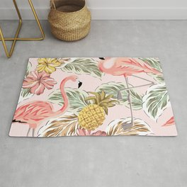 Art print in pink with flamingos, leaves and pineapple Rug