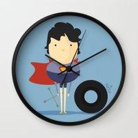 super hero Wall Clocks featuring My Super hero! by Juliana Rojas   Puchu