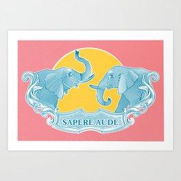 Two Elephants Art Print