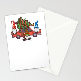 Hanging With My Gnomies Christmas Santa Gnome Red Truck product Stationery Cards