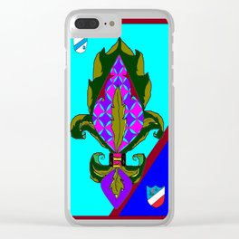 Fancy Royal Fleur de Lis and Shields and Ribbon Clear iPhone Case
