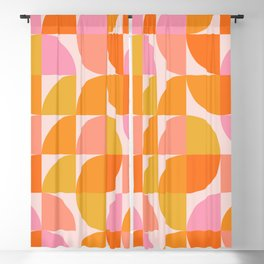 Mid Century Mod Geometry in Pink and Orange Blackout Curtain