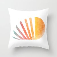 ed sheeran Throw Pillows featuring Raising sun (rainbow-ed) by Picomodi
