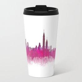 New York NYC City Skyline v05 Pink Violet Travel Mug