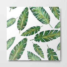 Decorative Watercolor Tropical Leaves Pattern Metal Print