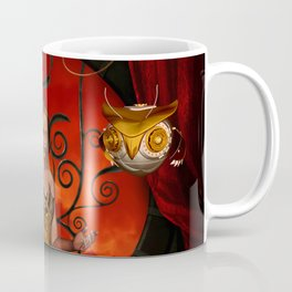 Steampunk women with steampunk owl Coffee Mug