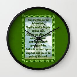 Green Irish Blessing Wall Clock
