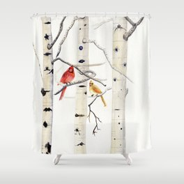Birch Trees and Cardinal Shower Curtain
