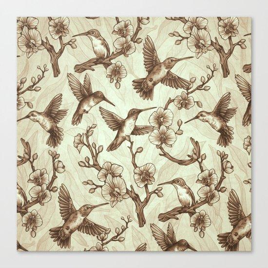 Sepia Hummingbird Pattern Canvas Print