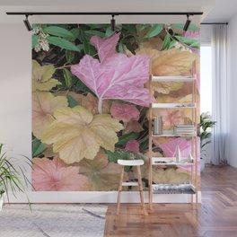 Pink Leaves Wall Mural
