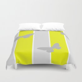 Mustard and Grey Stripes Duvet Cover