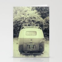 vw bus Stationery Cards featuring VW Split Screen Bus / Campervan by David Turner