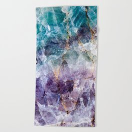 Turquoise & Purple Quartz Crystal Beach Towel