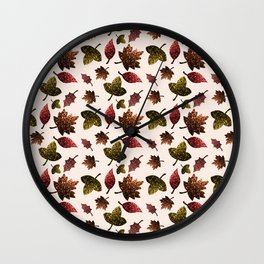 Sparkly leaves fall autumn sparkles pattern Wall Clock
