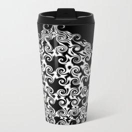 Curlicues Pentagon Black and White Pattern Travel Mug