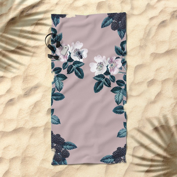 Wild Bee Blackberry Beach Towel