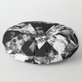 Fractured Black And White - Abstract, textured, black and white artwork Floor Pillow