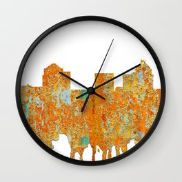 Greensboro, NC Skyline - Rust Wall Clock