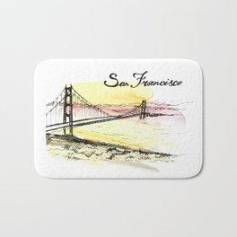 San Francisco. Watercolor and ink. Bath Mat