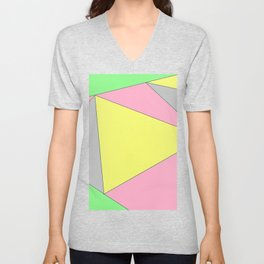 Pink, Green, and Yellow Geometric esign Unisex V-Neck