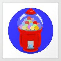 gumball Art Prints featuring Gumball Machine by elledeegee