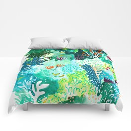 Twice Last Wednesday: Abstract Jungle Botanical Painting Comforters