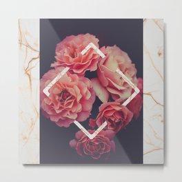 Pink Roses Gold Marble Metal Print
