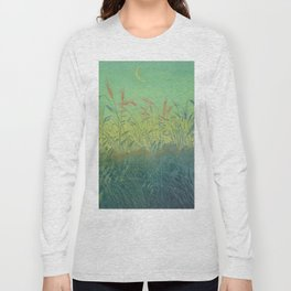Pan Berlin - 1896-1897 Beautiful Turquoise Sunset Landscape Wheat Field With Moon Long Sleeve T-shirt