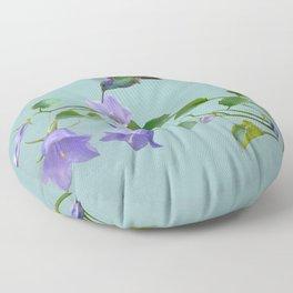 Hummingbird and Blue Bellflowers Floor Pillow