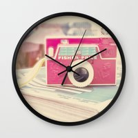 vintage camera Wall Clocks featuring Camera by Angie Ravelo Art & Photography