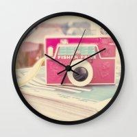 camera Wall Clocks featuring Camera by Angie Ravelo Art & Photography