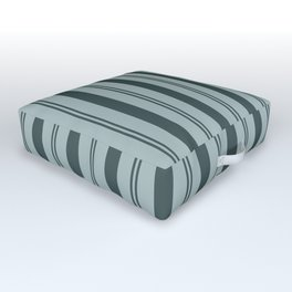 Night Watch Color of the Year PPG1145-7 Thick and Thin Vertical Stripes on Blue Willow Green Outdoor Floor Cushion